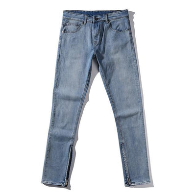 Stretch Zipper Denim Jeans with Ankle Zips