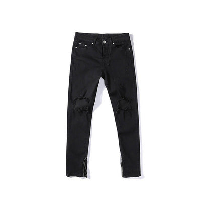 Pure Black Ripped Ankle Zip Jeans