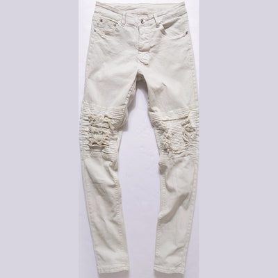Distressed Biker Patch Jeans