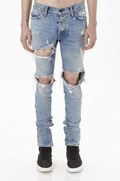 Ripped Skinny Fit Jeans with Ankle Zips