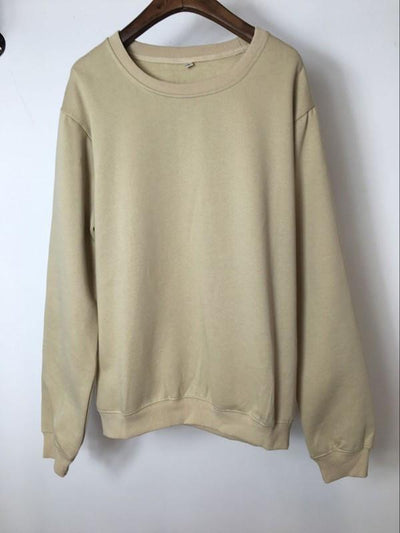 Sweatshirt - Premium Relaxed Pullover Sweatshirt In Khaki - Longline Clothing