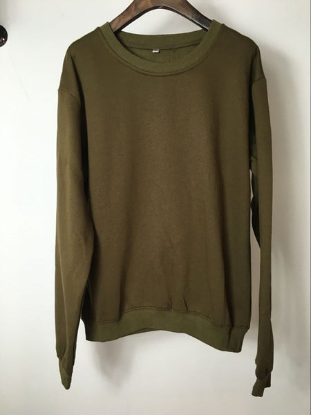 Sweatshirt - Premium Relaxed Pullover Sweatshirt In Olive - Longline Clothing