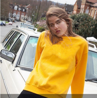 Sweatshirt - Premium Relaxed Pullover Sweatshirt In Yellow - Longline Clothing