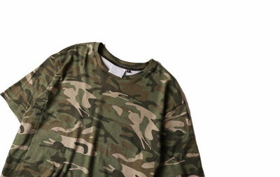 T-Shirts - Classic Camo T-Shirt With Curved Hem - Longline Clothing