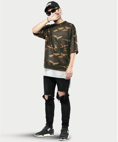 T-Shirts - Classic Camouflage Print T-Shirt - Longline Clothing
