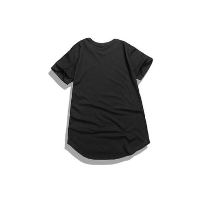 T-Shirts - Curved Hem Distressed Destroyed Black T-Shirt - Longline Clothing