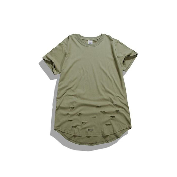 T-Shirts - Curved Hem Distressed Destroyed Green T-Shirt - Longline Clothing