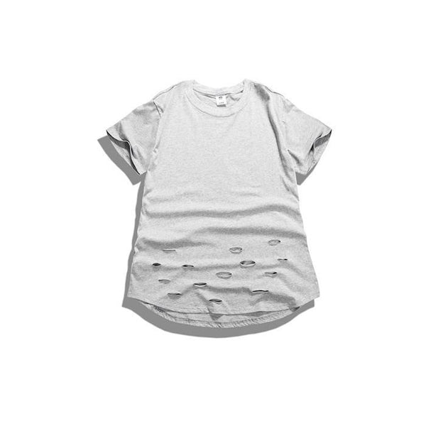 T-Shirts - Curved Hem Distressed Destroyed Grey T-Shirt - Longline Clothing