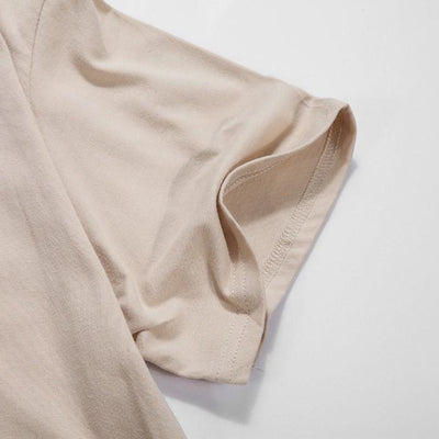 T-Shirts - Curved Hem Distressed Destroyed Khaki T-Shirt - Longline Clothing