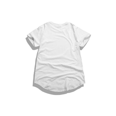 T-Shirts - Curved Hem Distressed Destroyed White T-Shirt - Longline Clothing