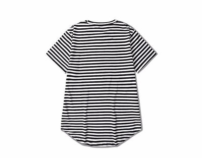 T-Shirts - Premium Curved Hem Striped T-Shirt - Longline Clothing