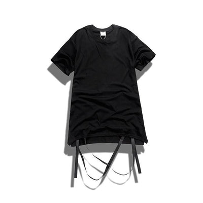 T-Shirts - Strap T-Shirt With Removable Hem Ribbon In Black - Longline Clothing