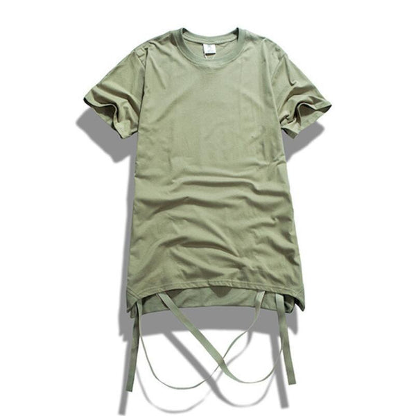 T-Shirts - Strap T-Shirt With Removable Hem Ribbon In Green - Longline Clothing