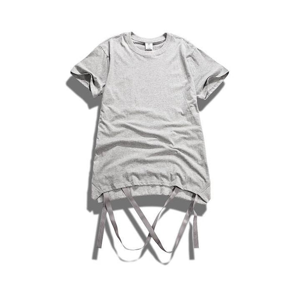 T-Shirts - Strap T-Shirt With Removable Hem Ribbon In Grey - Longline Clothing