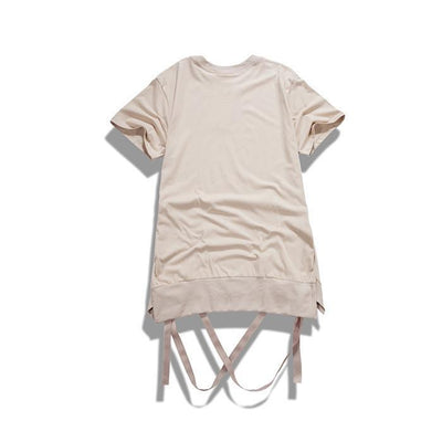 T-Shirts - Strap T-Shirt With Removable Hem Ribbon In Light Khaki - Longline Clothing