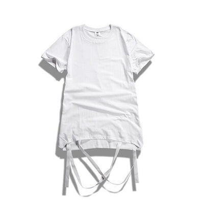 T-Shirts - Strap T-Shirt With Removable Hem Ribbon In White - Longline Clothing
