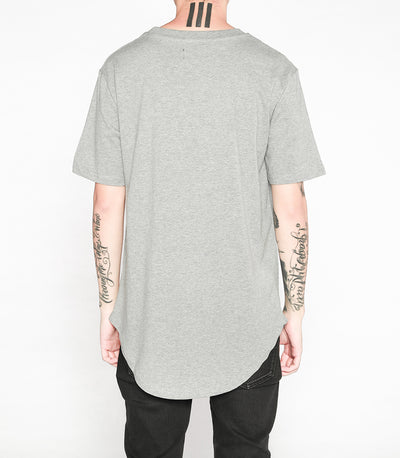 Premium Curved Hem T-Shirt in Grey