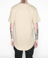Premium Curved Hem T-Shirt in Khaki