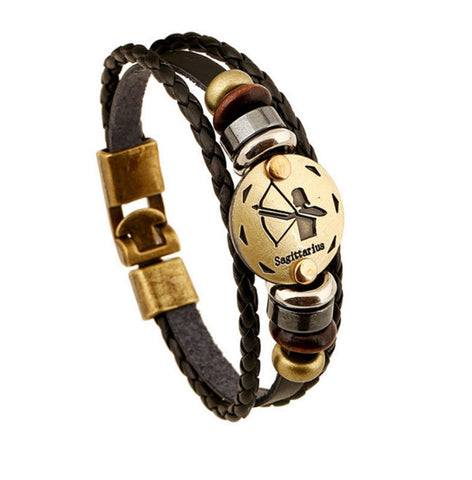 Vintage Zodiac Leather Bracelet