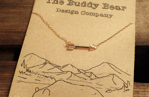 Gold Arrow Necklace  Jewellery, buddybeardesign, Buddy Bear Design  - Buddy Bear Design