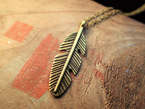 Antique Bronze Feather Pendant  Jewellery, buddybeardesign, Buddy Bear Design  - Buddy Bear Design