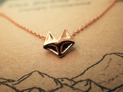 Rose Gold Geometric Fox Necklace  Jewellery, buddybeardesign, Buddy Bear Design  - Buddy Bear Design