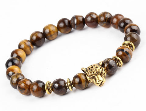 Tiger Eye Leopard Head Bracelet