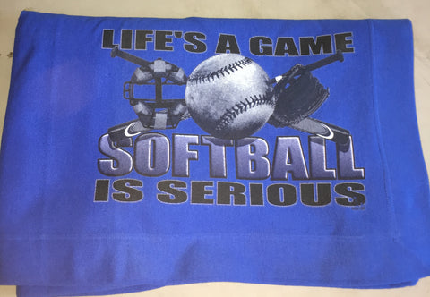 """Life's a Game Softball is Serious"" Blanket"