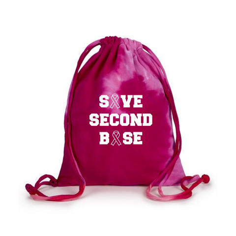 Breast Cancer Awareness Tye Dye Drawstring Bag Save Second Base