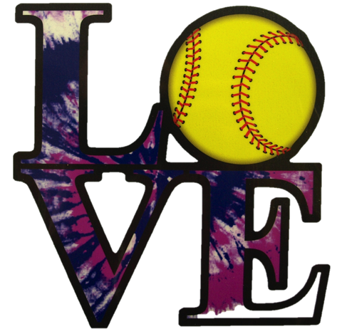 LOVE Softball Vinyl Decal