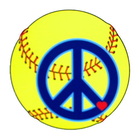 Softball Peace Sign Magnet
