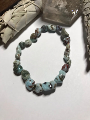 6-8mm Larimar Nugget Stretch Bracelet