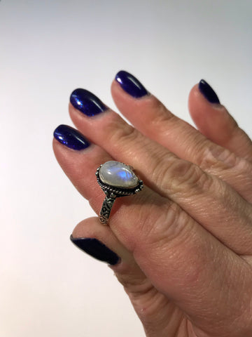 Rainbow Moonstone Silver Ring, Size 8