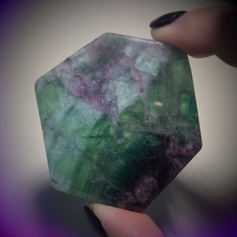 Polished Rainbow Fluorite Hexagon
