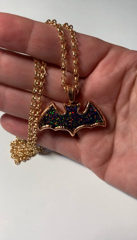 Copper Electroformed Bat Pendant Necklace
