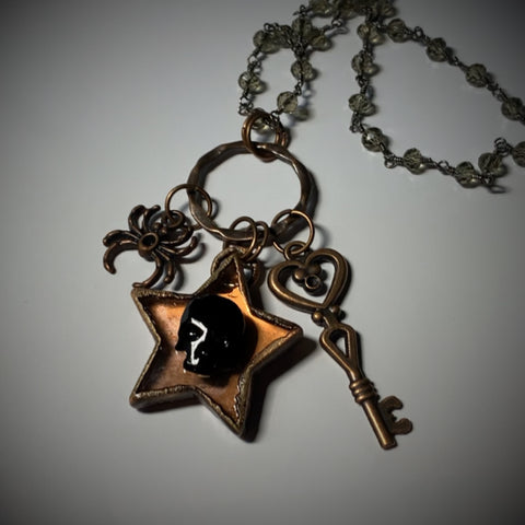 Clear Quartz Star Copper Pendant Necklace