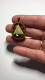 Aura Opal Triangle Walnut Pendant Necklace