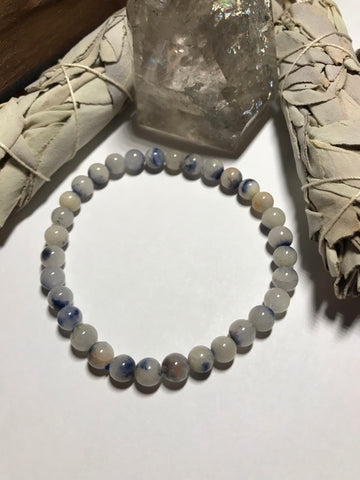 Blue Dumortierite in Quartz Stretch Bracelet