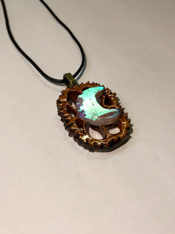 Angel Aura Moon Walnut Pendant Necklace