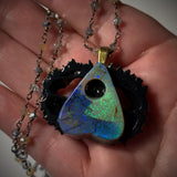 Monarch Opal Planchette Walnut Pendant Necklace