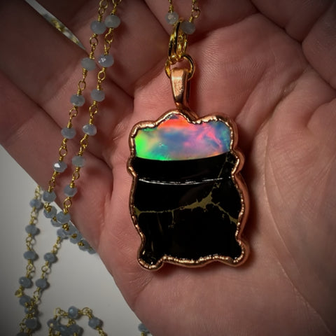 Copper Electroformed Aura Opal Cauldron Pendant Necklace