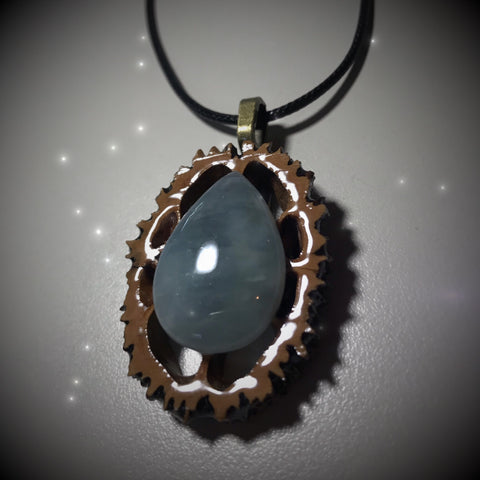 Aquamarine Walnut Pendant Necklace