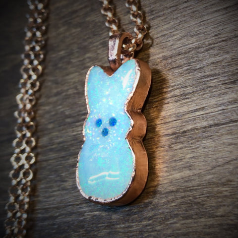 Atlantis Opal Bunny Copper Pendant Necklace