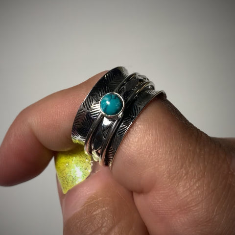 Turquoise Spinning Sterling Silver Ring, Size 10