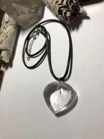 Clear Quartz Heart Pendant Necklace