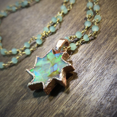 Copper Monarch Opal Pinwheel Pendant Necklace