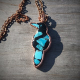 Kingman Turquoise in Resin Raven Copper Pendant Necklace