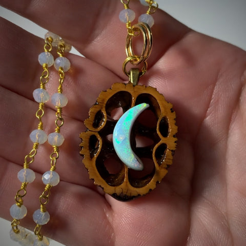 Atlantis Opal Moon Walnut Pendant Necklace