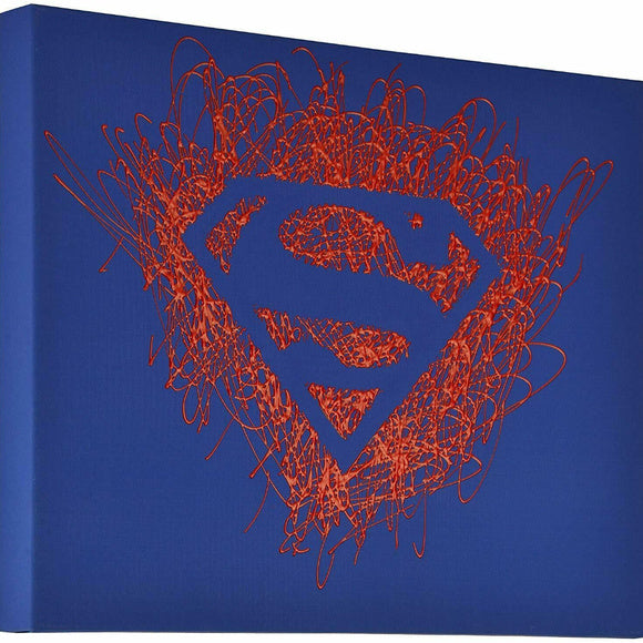 Superman Logo Paint Splatter Canvas