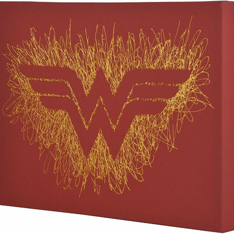 Wonder Woman Logo Paint Splatter Canvas